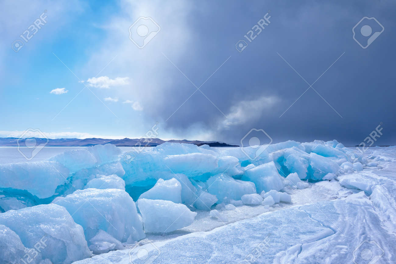 outdoor view of ice blocks at frozen baikal lake in winter Stock Photo - 15189806