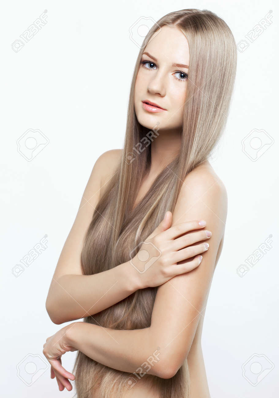 Portrait of beautiful young woman with long blond hair Stock Photo - 15719191