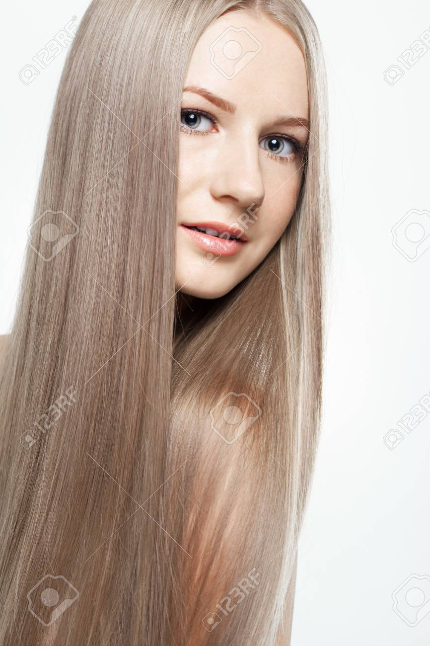 Portrait of beautiful young woman with long blond hair Stock Photo - 15719255