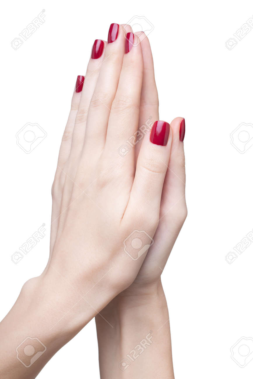 hands with woman's professional red nails manicure isolated on white Stock Photo - 17460664