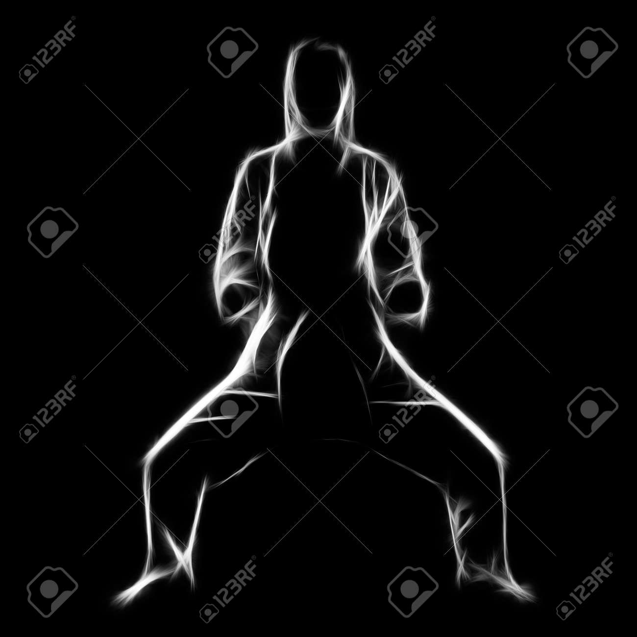 Fractal full-length silhouette portrait of beautiful martial arts girl in kimono excercising karate kata in kiba dashi pose on black Stock Photo - 24528171
