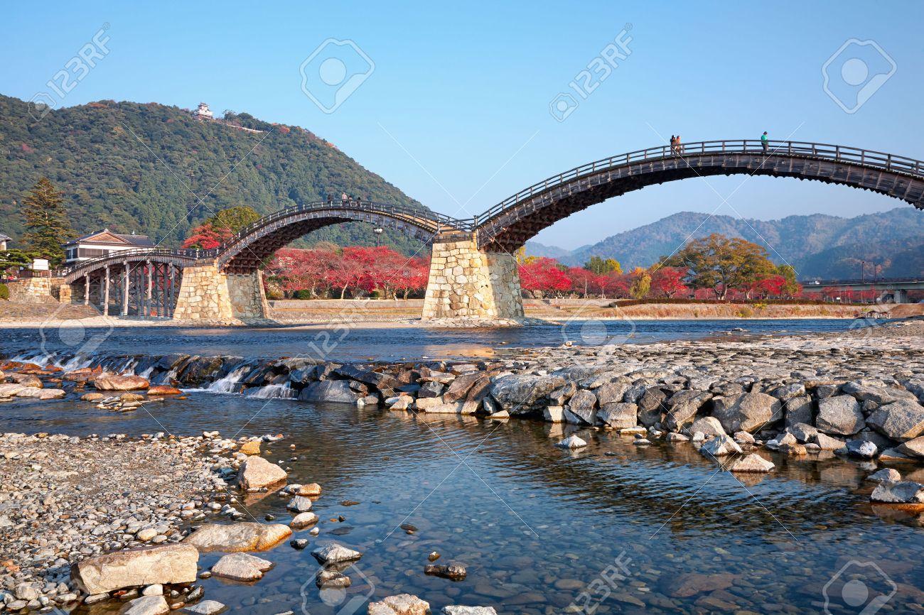 Kintai Bridge over Nishiki river and Iwakuni Castle on mount, Yamaguchi prefecture, Japan - 27711479