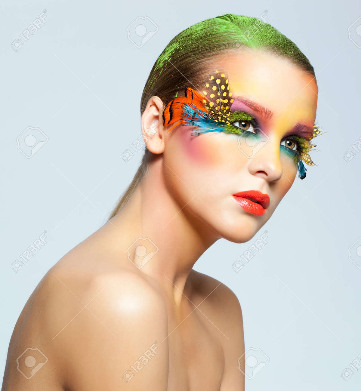 b8bc7f93102 Stock Photo - Young pretty woman face with false feather eyelashes fashion  makeup
