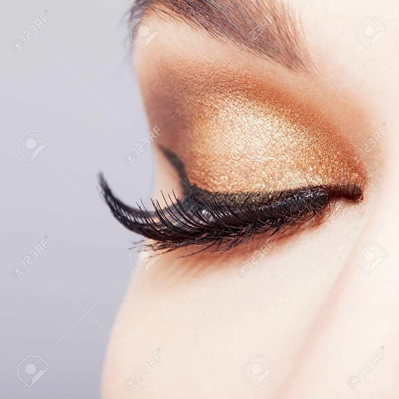 Female Closed Eye With Long Eyelashes Closeup Shot Stock Photo ...