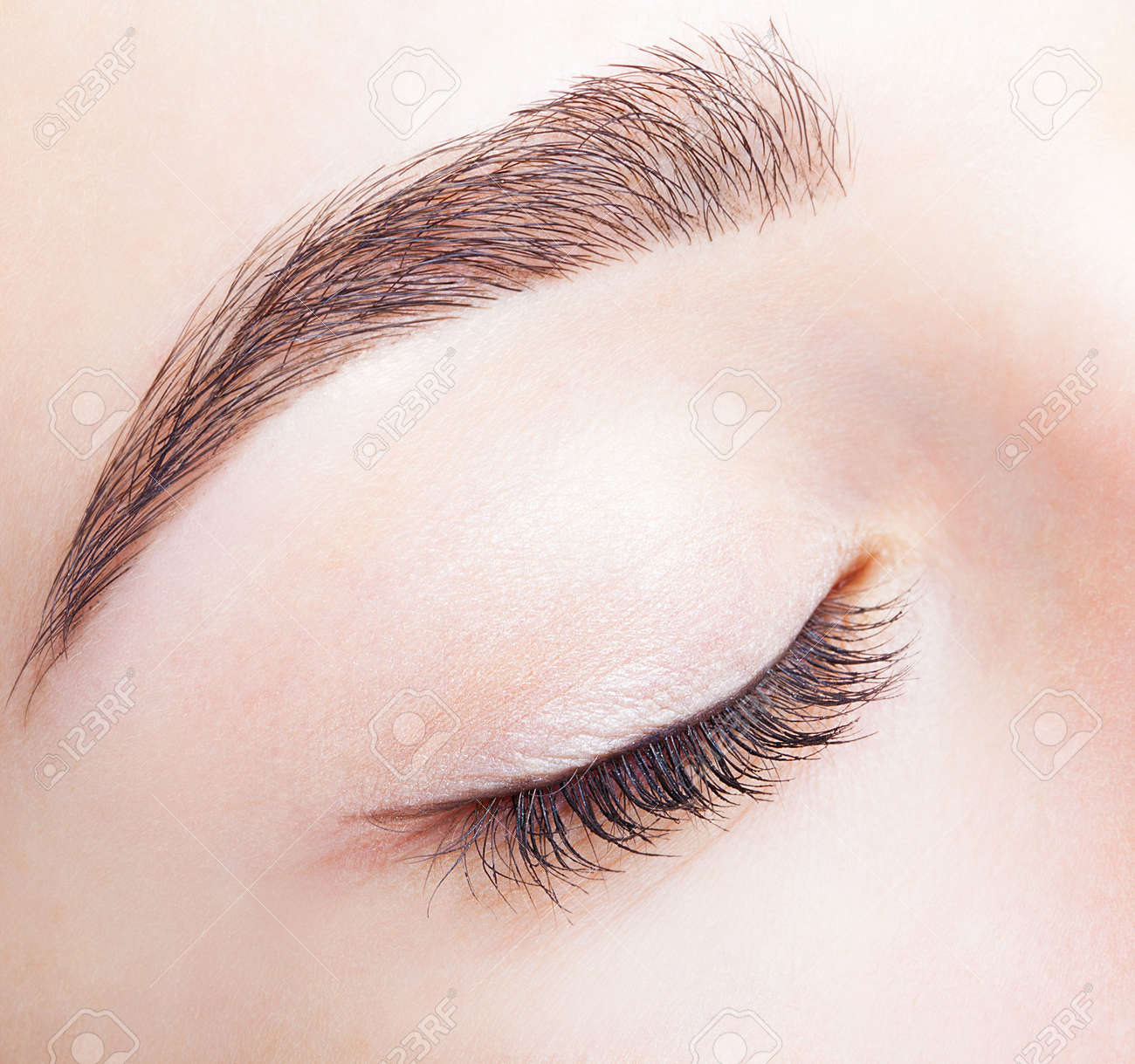 Closeup shot of female closed eye and brows with day makeup - 37028657