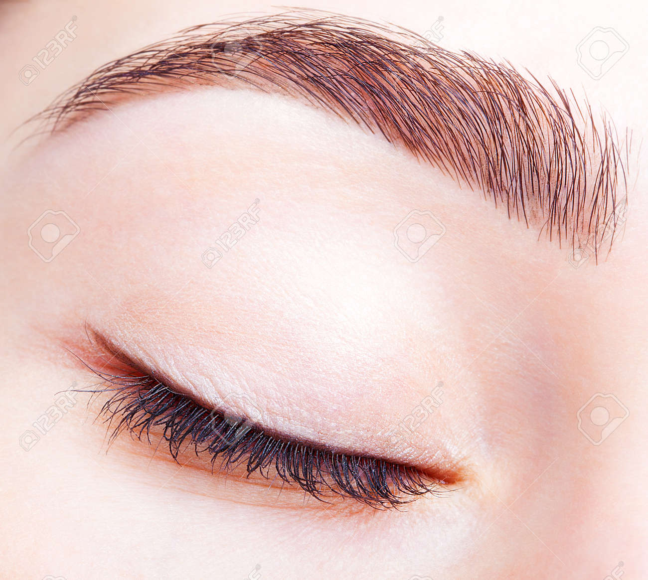 Closeup Shot Of Female Closed Eye And Brows With Day Makeup Stock