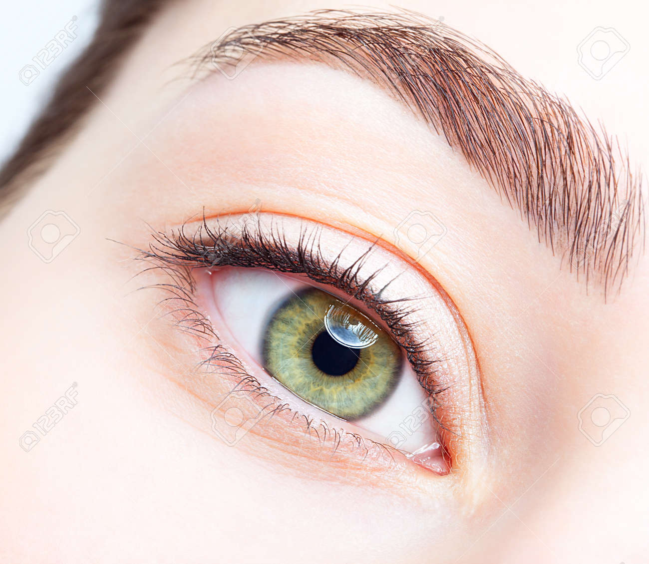 Closeup shot of female green pistachio colour eye with day makeup - 37028661