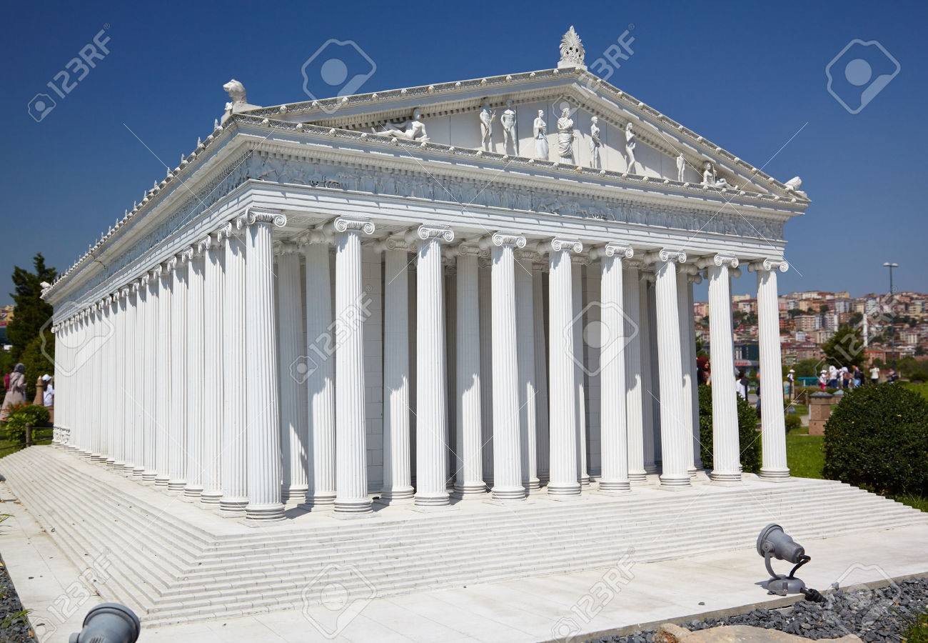 ISTANBUL TURKEY 10 JULY 2014: Miniaturk park in Istanbul Turkey. Scale model reconstruction of Temple of goddess Artemis. It was located in Ephesus. One of the Seven Wonders of the Ancient World. - 40666983