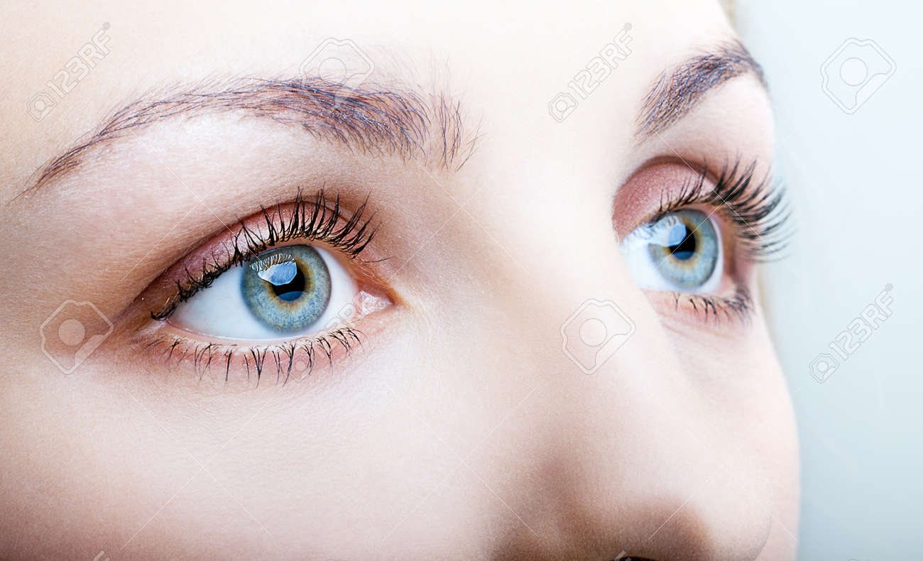 Close-up shot of female face with eyes makeup - 43143437