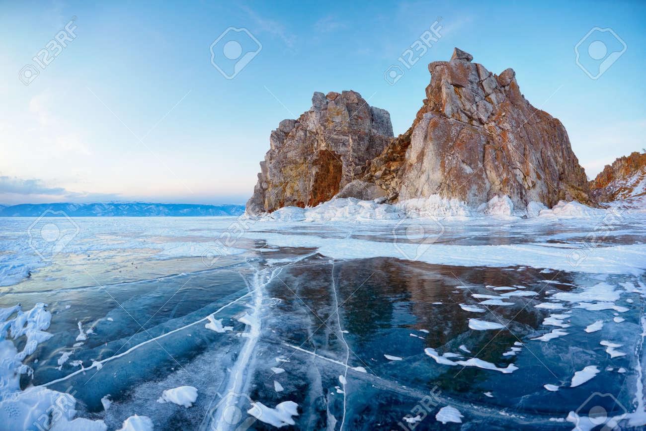 Mount Shamanka or Cape Burkhan on siberian lake Baikal at winter - 44589632