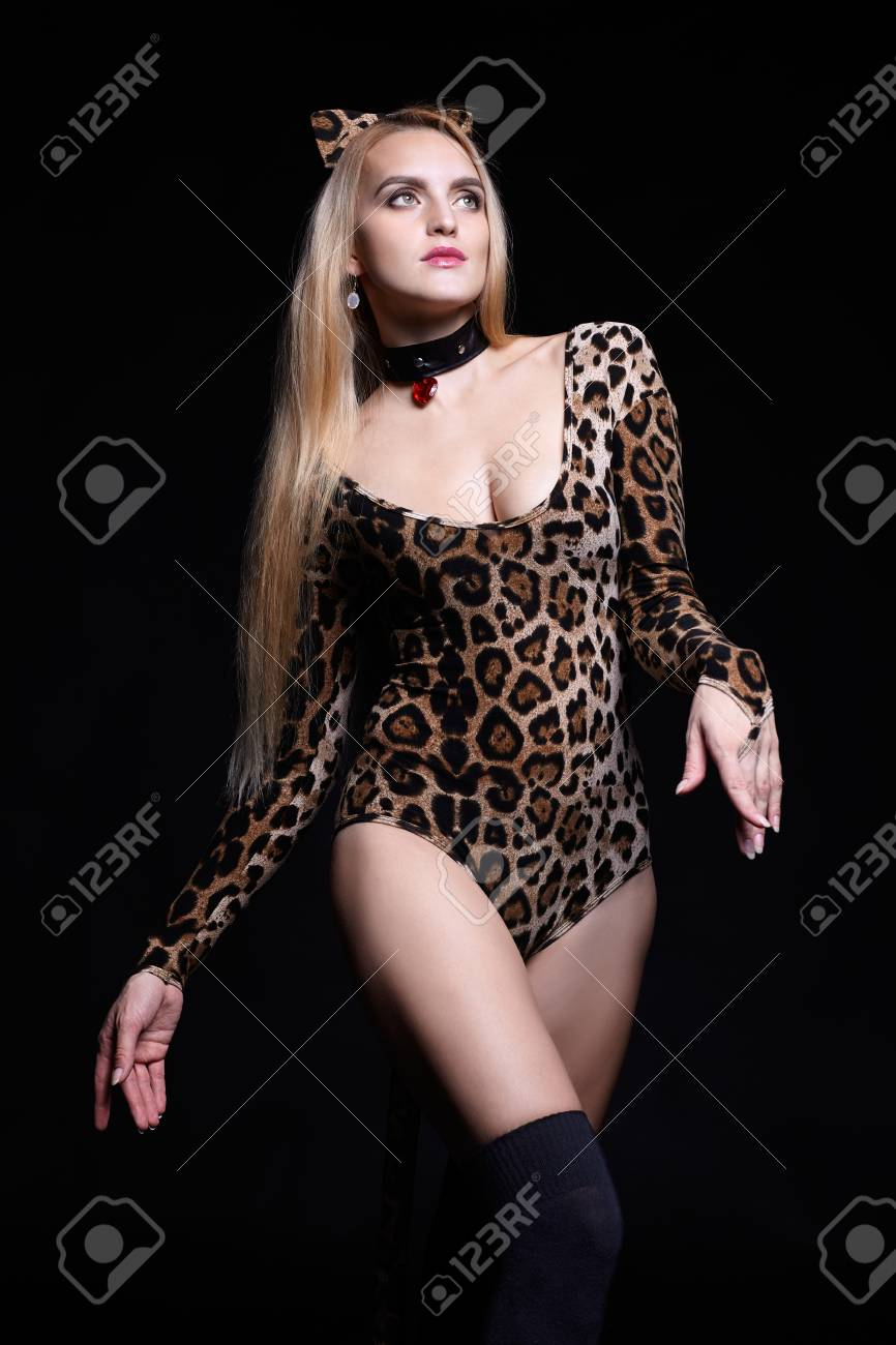 Blonde female dressed in cat girl suit. Woman in fancy masquerade costume of leopard.  sc 1 st  123RF.com & Blonde Female Dressed In Cat Girl Suit. Woman In Fancy Masquerade ...