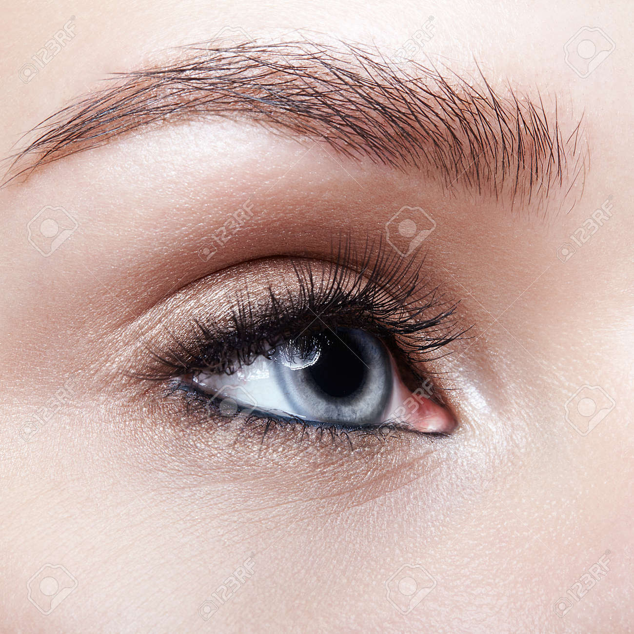 Closeup macro shot of blue human woman eye. Female with smoky eyes makeup - 121764964