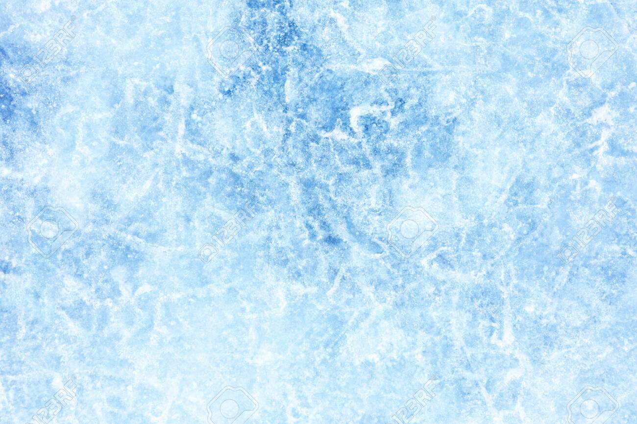 Surface of winter ice on Baikal lake in Siberia . Blue background of Ice texture - 146318637