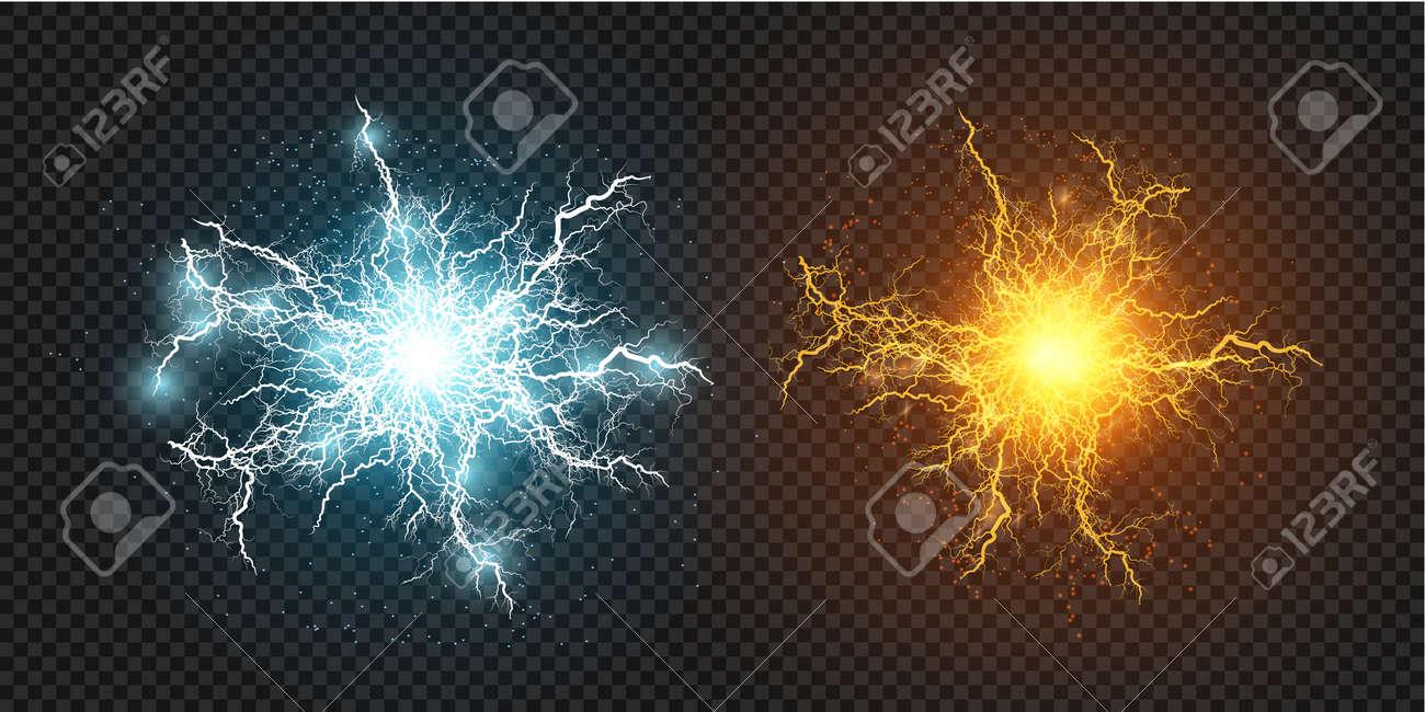 Lightning flash light thunder sparks on a transparent background. Fire and ice fractal lightning, plasma power background vector illustration - 149500575