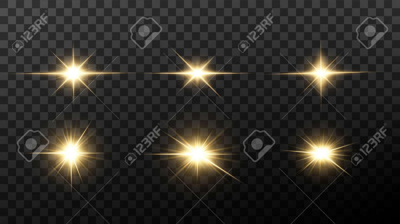 Shining golden stars isolated on black background. Effects, lens flare, shine, explosion, golden light, set. Shining stars, beautiful golden rays. Vector illustration. - 149502467