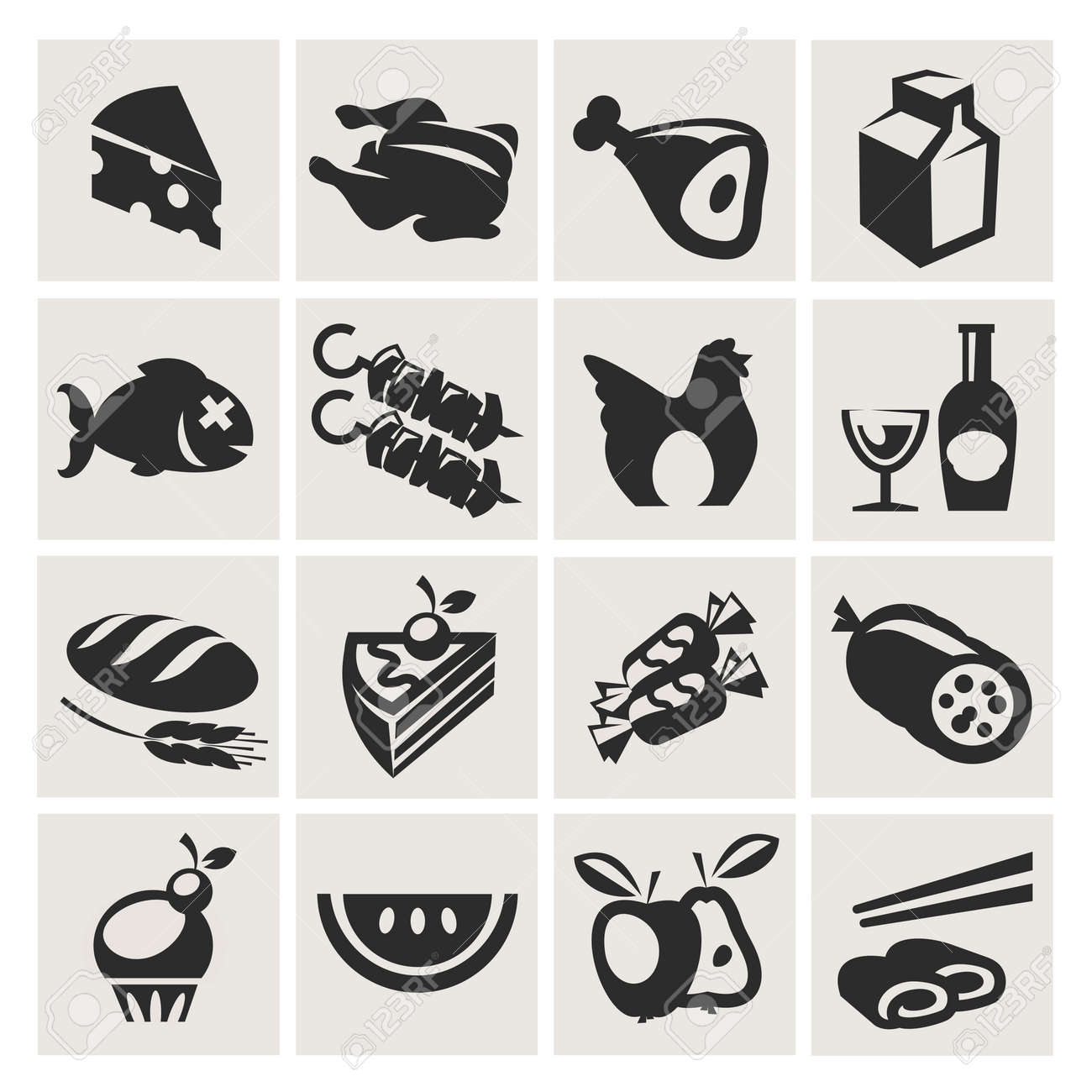 Icons set gastronomy Stock Vector - 18357482