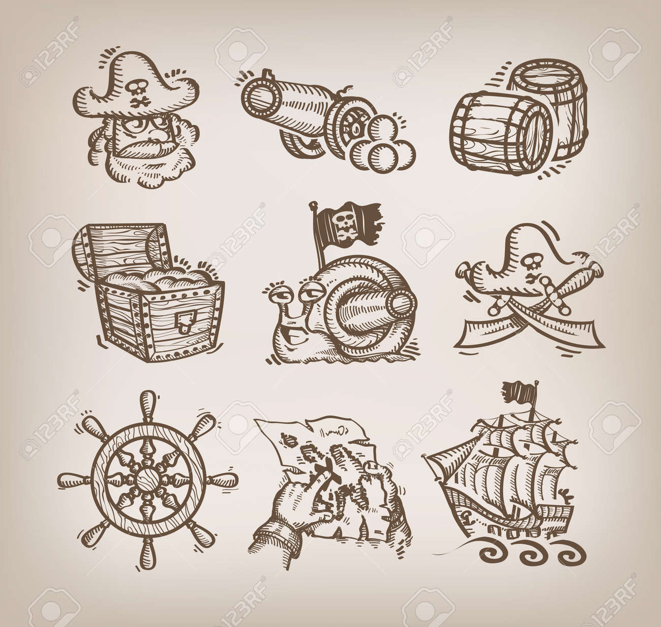 Set of icons. Author's illustration Stock Vector - 19969220