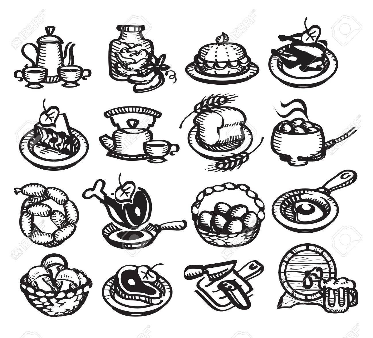 Food icons. illustration Stock Vector - 19969485