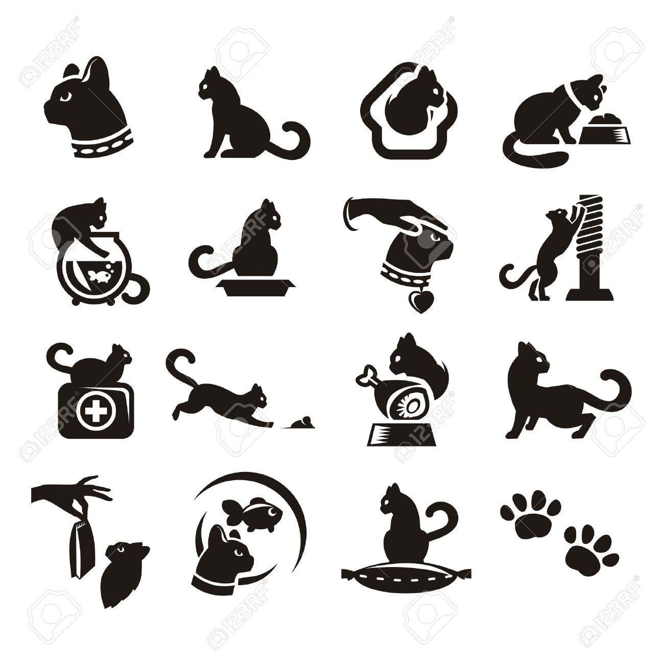 Siluetas de gato Foto de archivo - 21425334