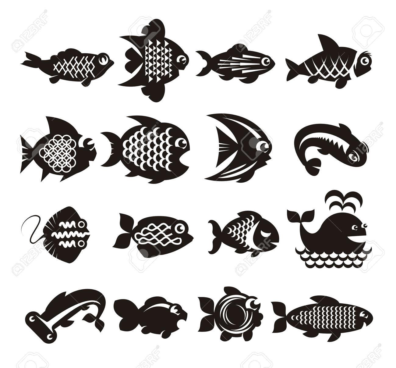 Fish icons set Stock Vector - 21425434