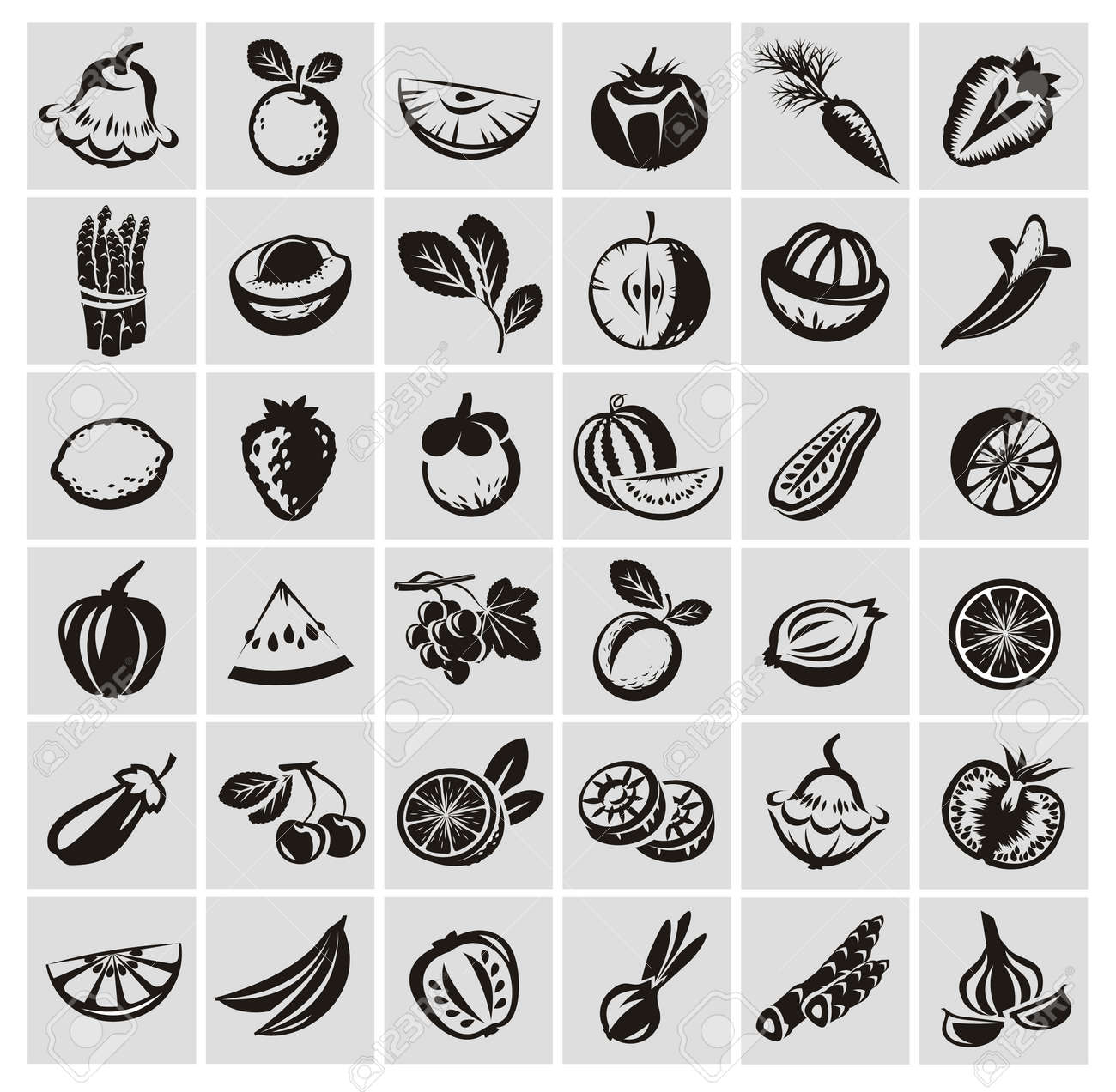 Vegetables and fruits icons - 22261140