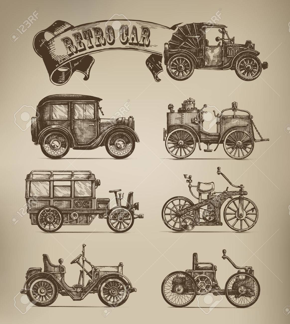 Retro cars vectors - 23236521