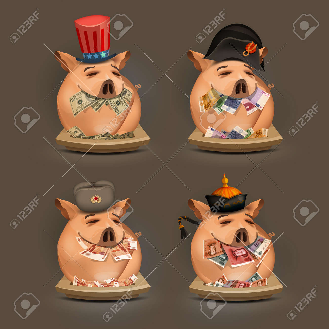 Pig  Money  Vector format Stock Vector - 24754999