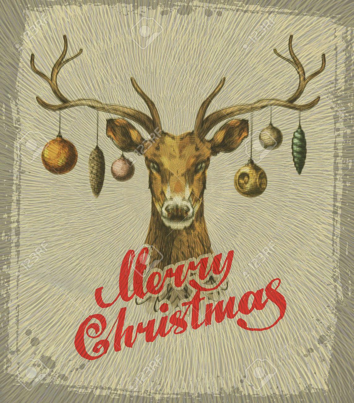 Merry Christmas. Vintage Christmas card. deer. Vector illustration