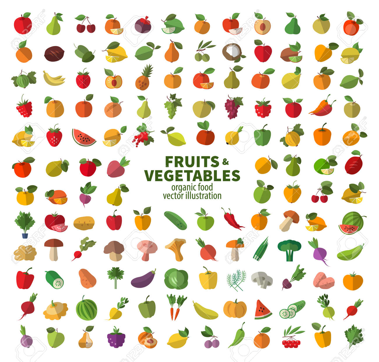 The collection of icons on fruits and vegetables. Fresh food - 34936018