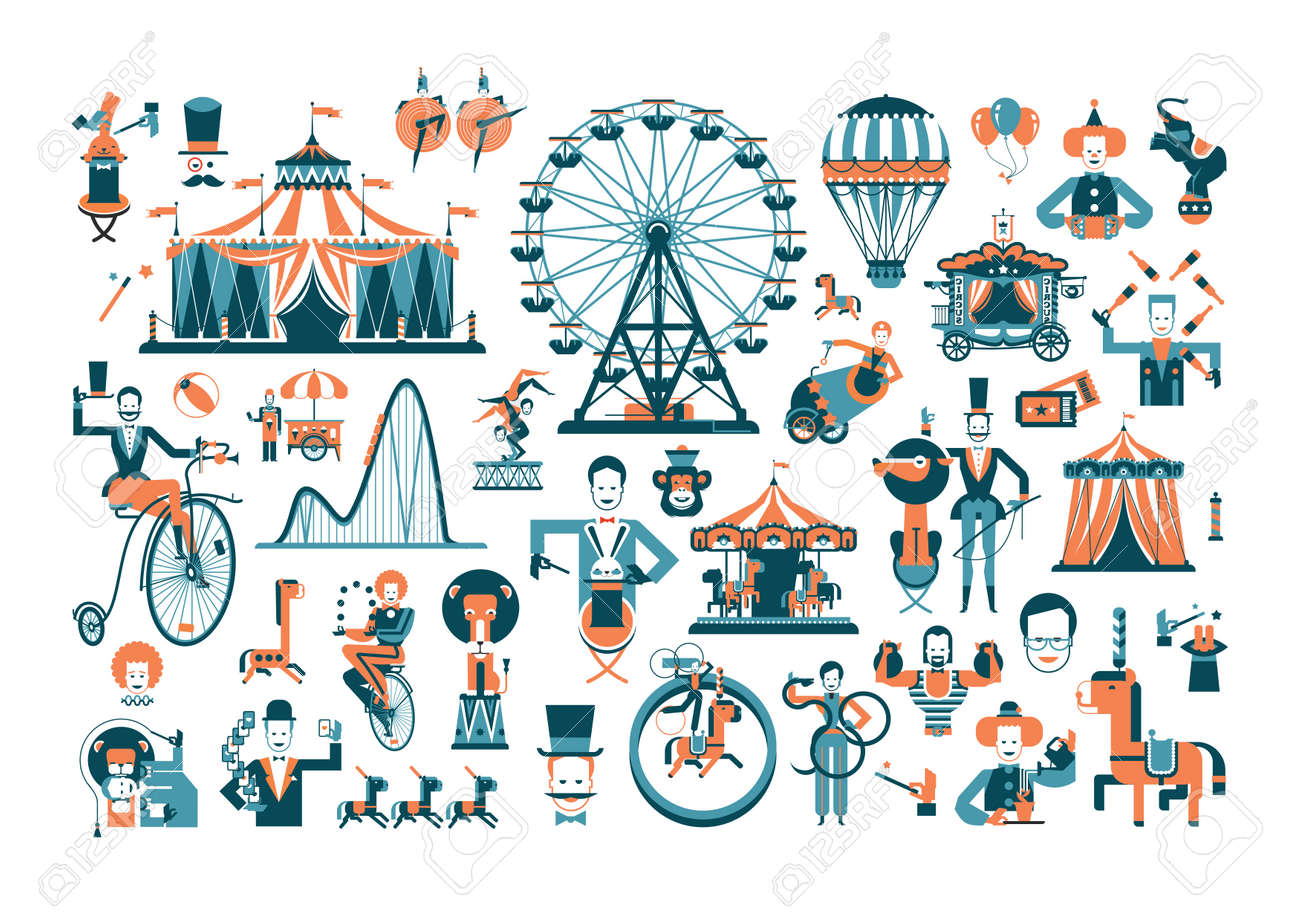 ビンテージ遊園地およびサーカス公園とサインベクトル イラストの