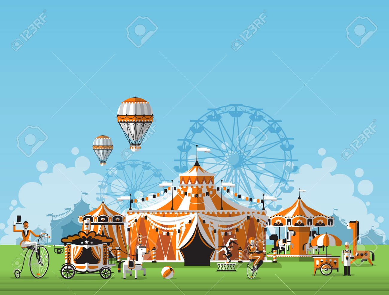 Vector illustration of circus tent. Trade fair complex in the meadow - 34985022