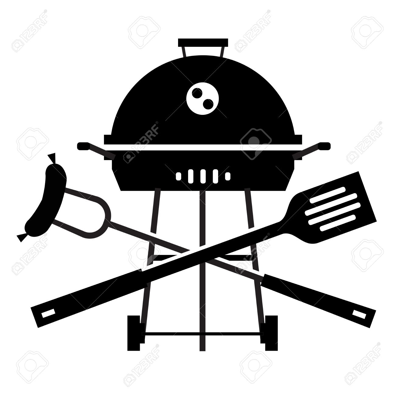 Simple Silhouette. Barbecue On A White Background. Vector ...