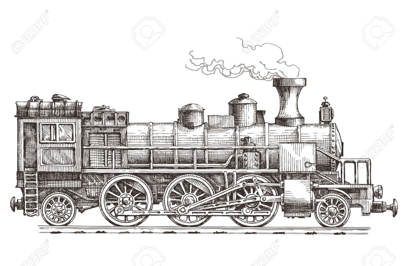 Sketch. Retro Train On A White Background Stock Photo, Picture And ...