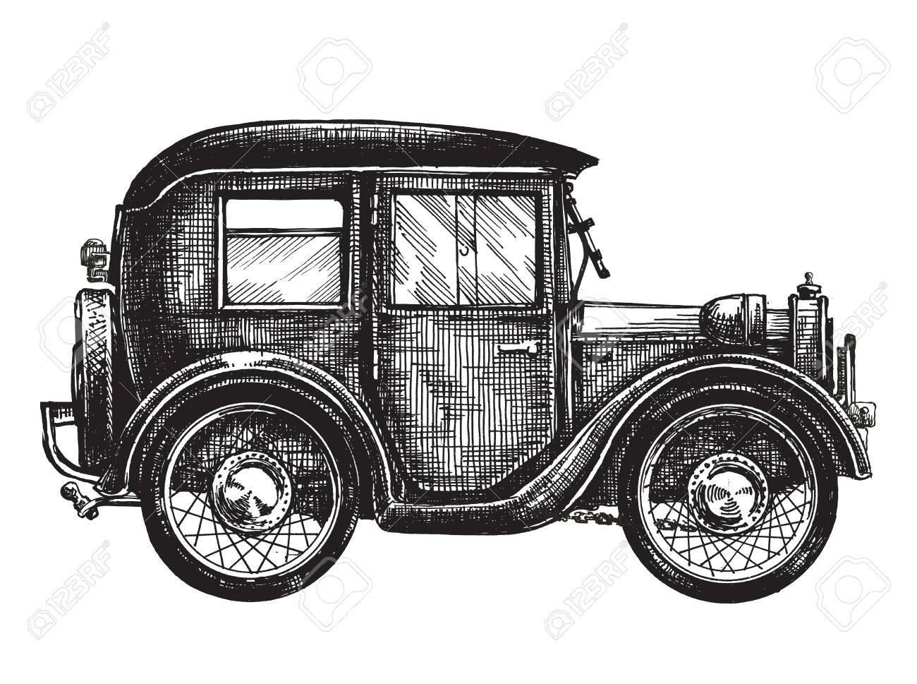 Retro-Auto Auf Einem Weißen Hintergrund. Skizze Lizenzfreie Fotos ...
