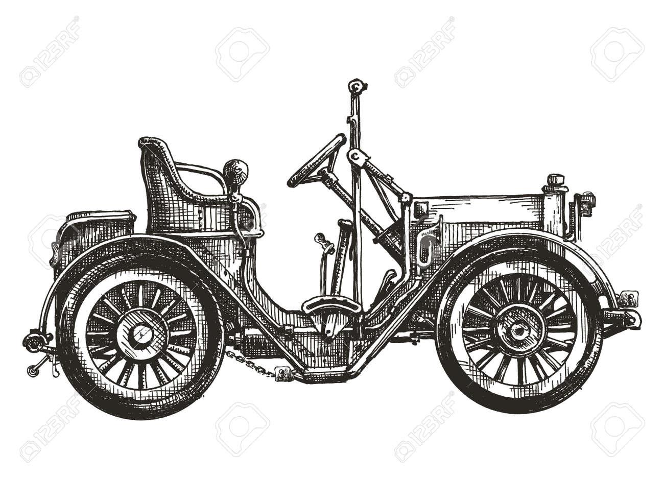 Alte Auto Auf Einem Weißen Hintergrund. Skizze, Illustration ...