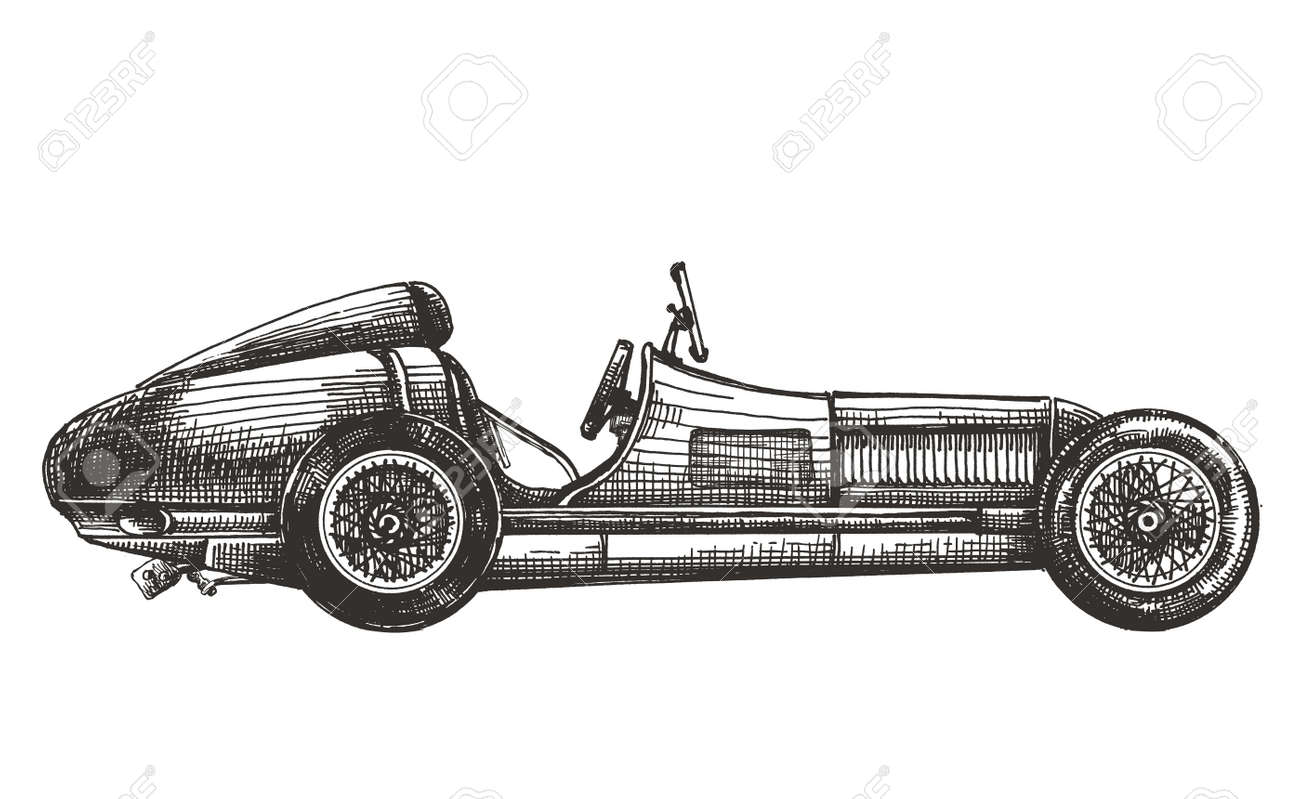 Vintage Racing Car On A White Background Sketch Stock Photo