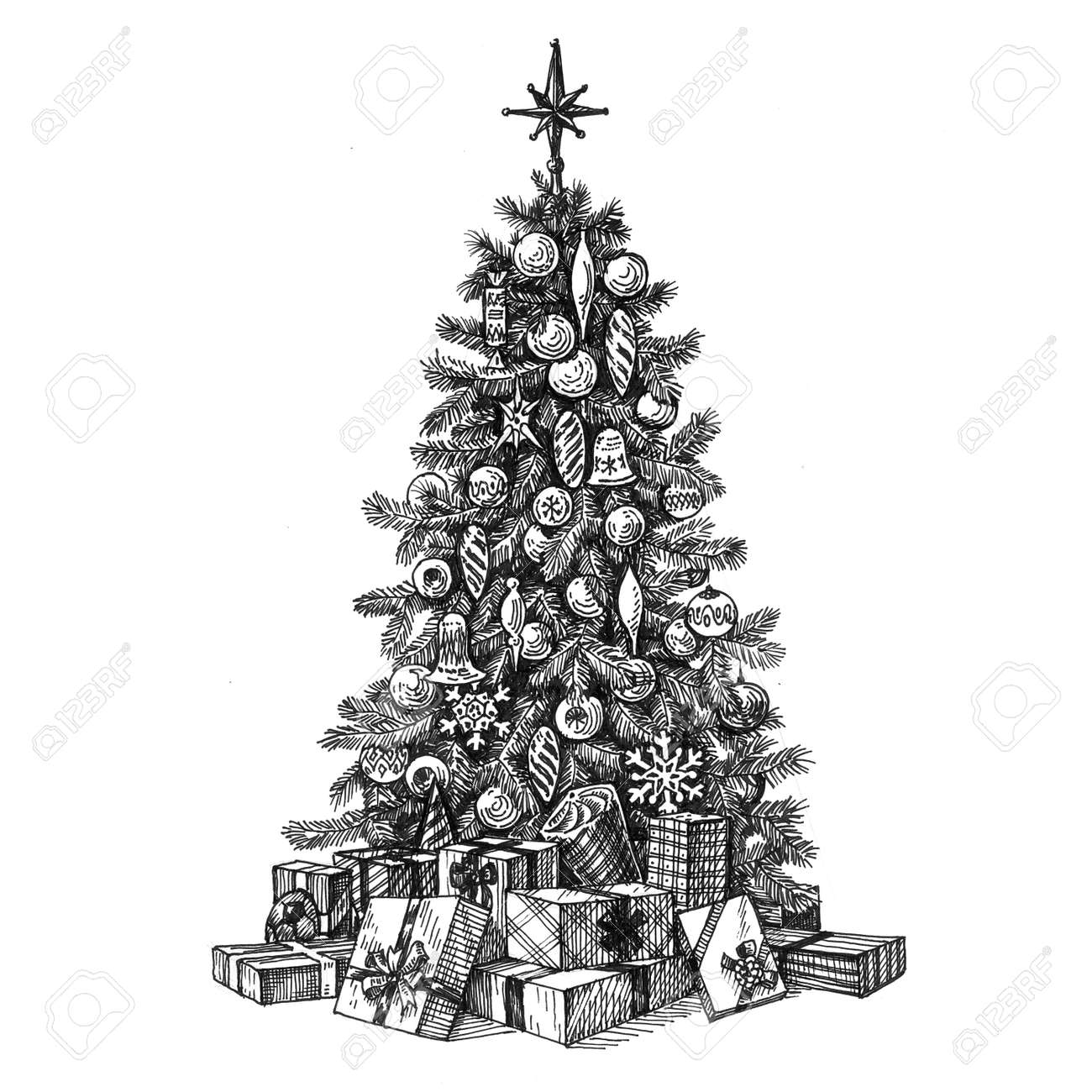Christmas Tree And Gifts On A White Background Sketch Stock Photo