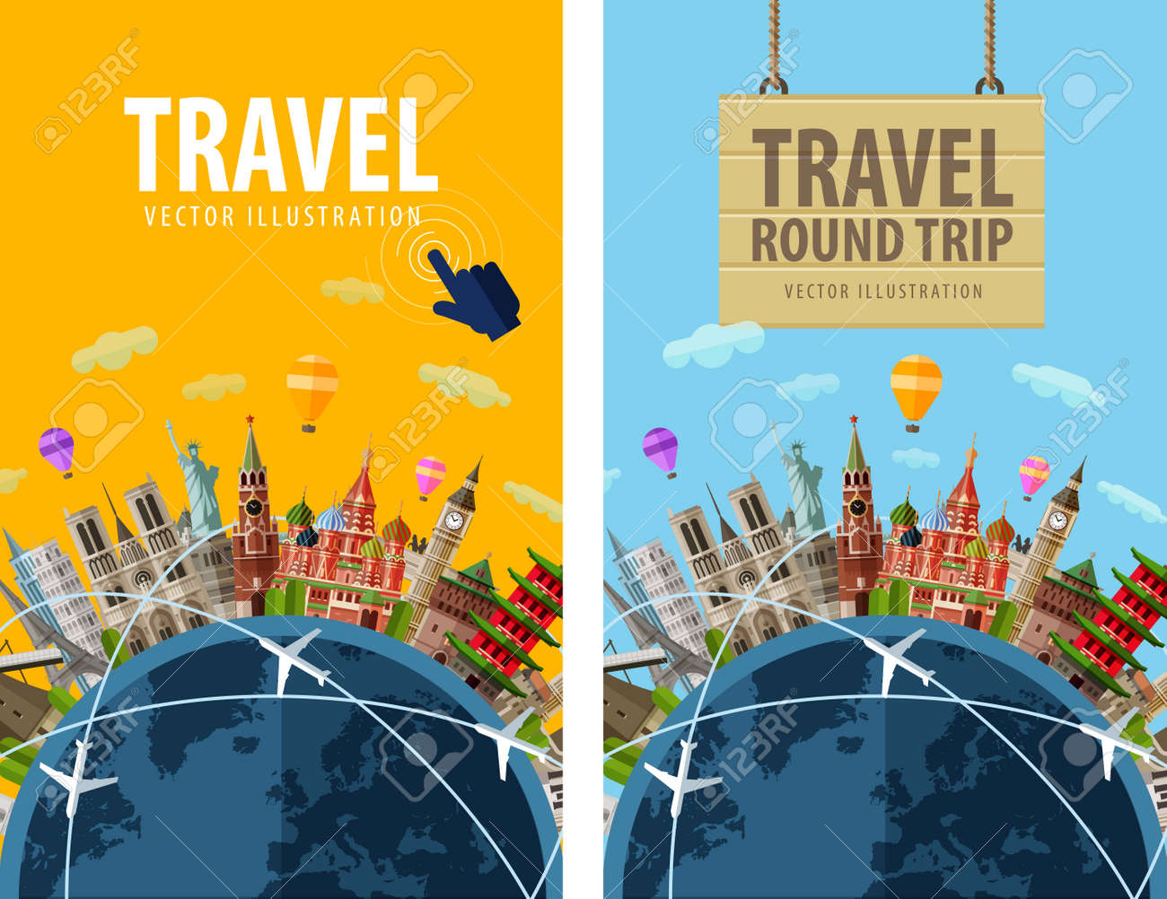 journey. sightseeings countries around planet earth. vector illustration Stock Vector - 41049900