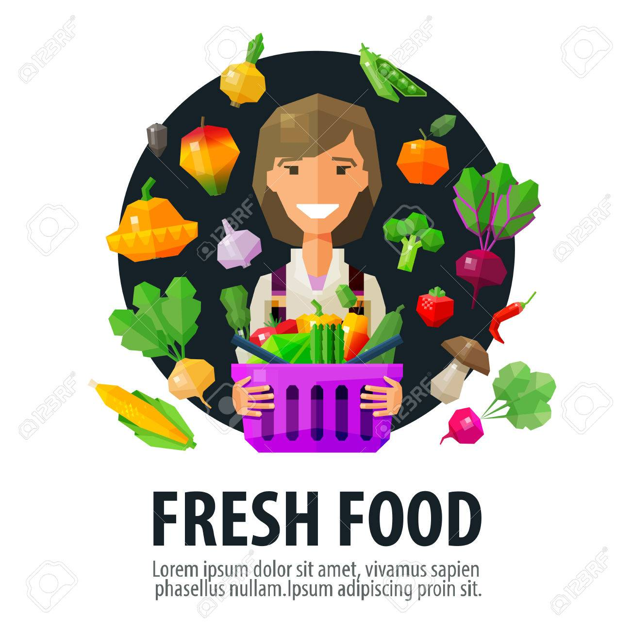 chica alegre joven con una cesta de frutas y hortalizas frescas. vector. ilustración plana Foto de archivo - 41049919