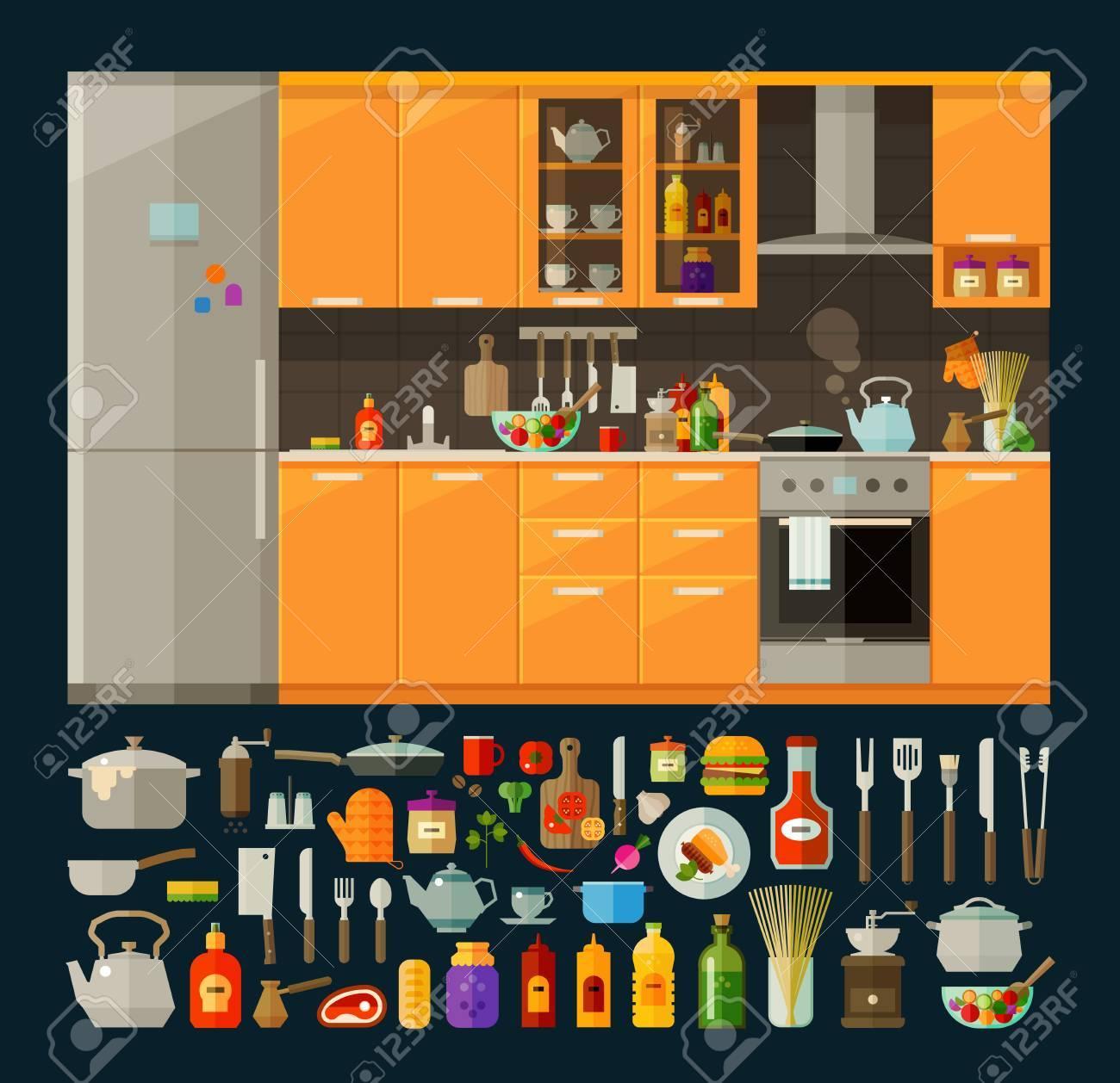 Muebles Modernos De Cocina Y Utensilios, Comida. Vector. Ilustración ...