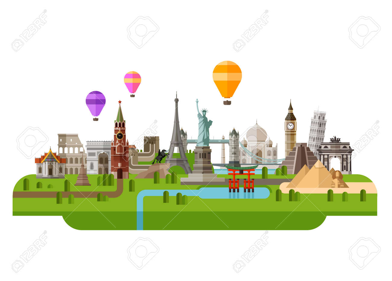 icon set the sights of the world. vector. flat illustration - 41621146