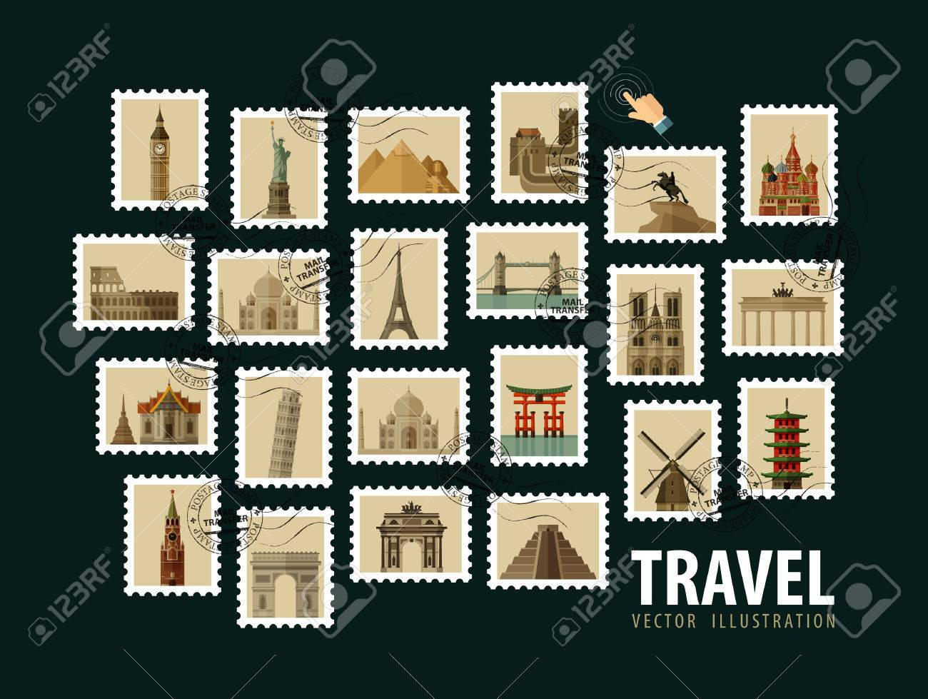 postage stamps. the historic architecture of the world. vector illustration Stock Vector - 43385683