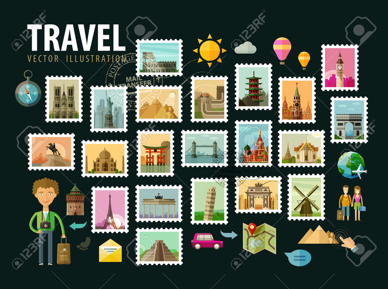 the historic architecture of the world. vector illustration Stock Vector - 43386622
