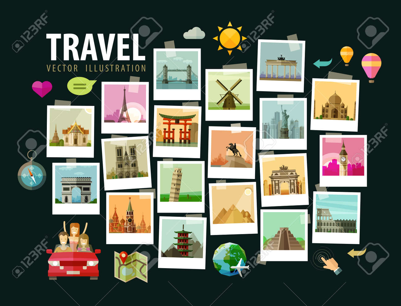 photos of historic architecture in the world. vector illustration Stock Vector - 43386765