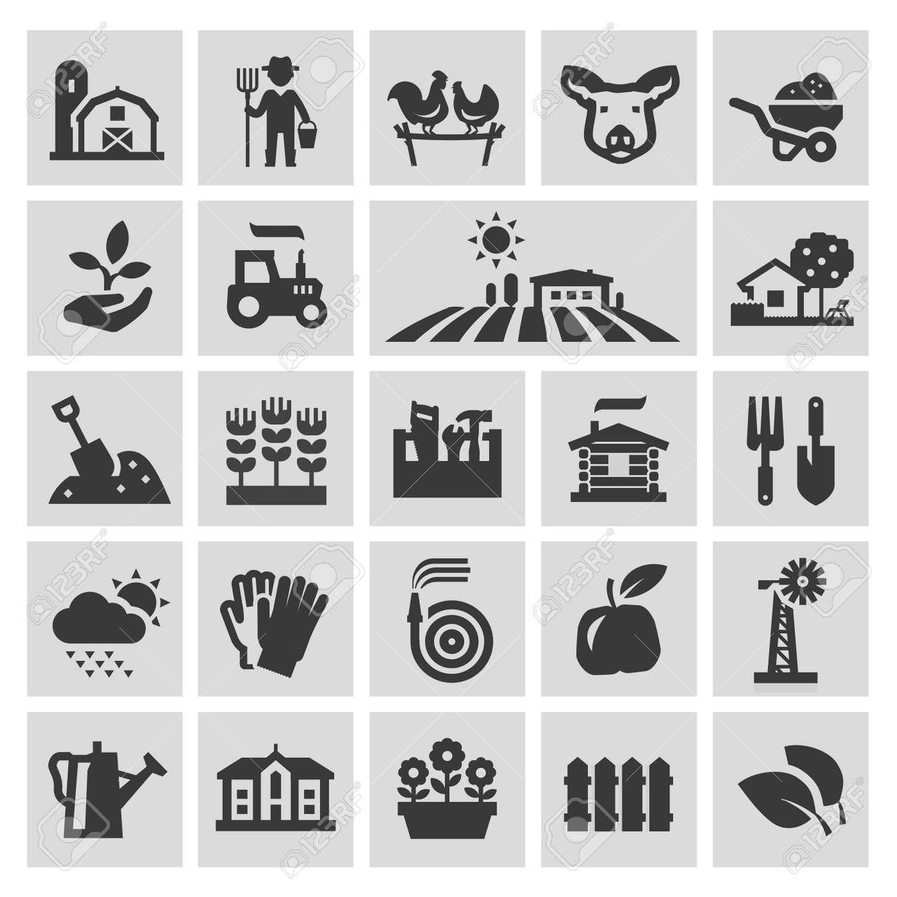 farm. set of black icons on gray background. vector illustration - 48601961