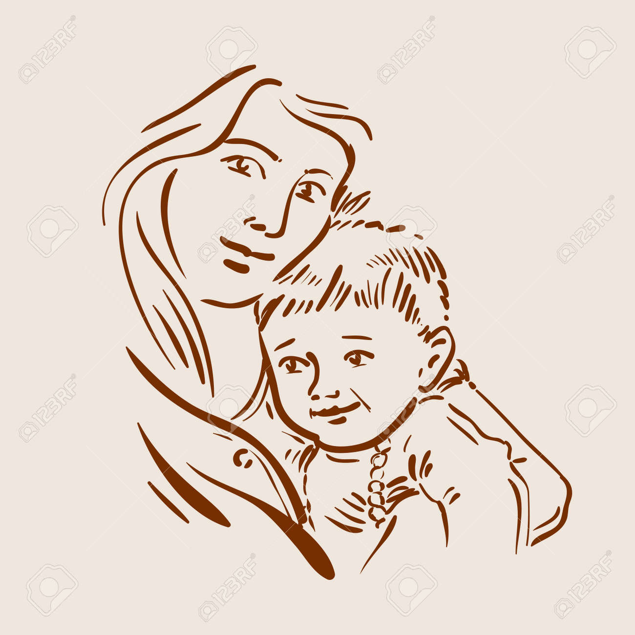 The mother and child sketch vector illustration stock vector 49822864