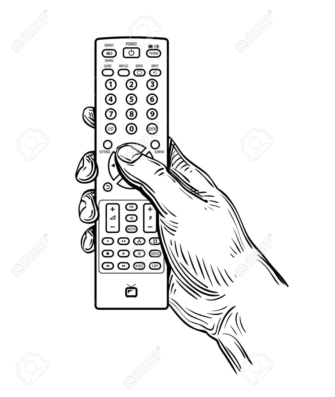 remote control drawing. hand-drawn tv remote control isolated on white background stock vector - 49947082 drawing r