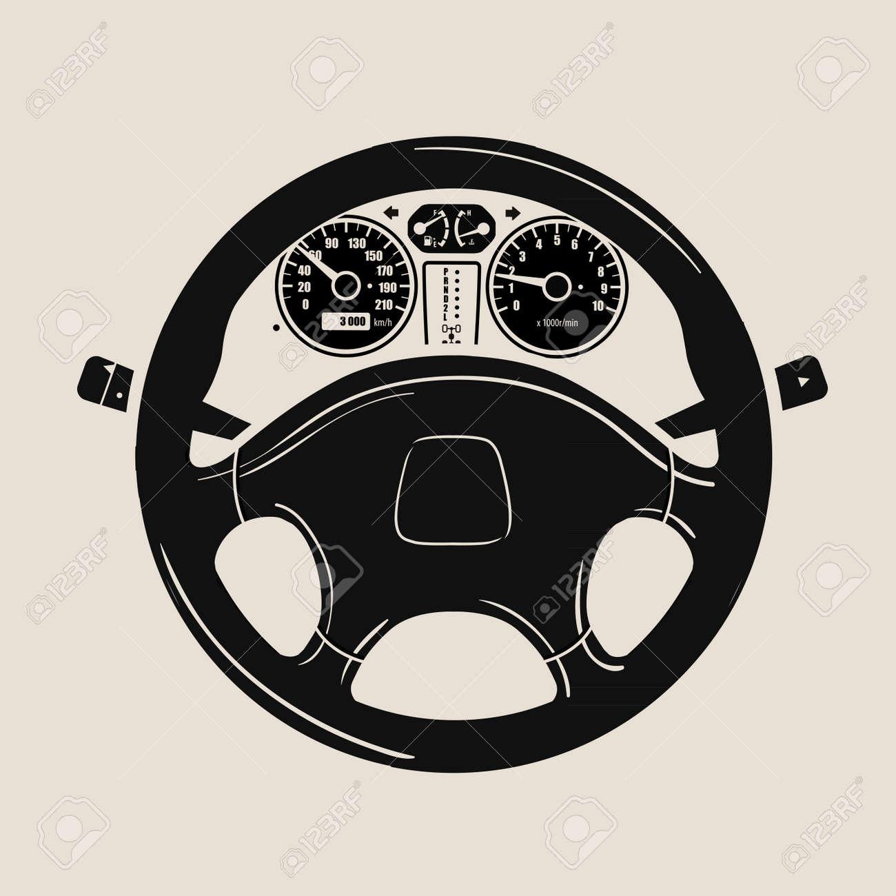 black car wheel and speedometer. vector illustration - 50079286