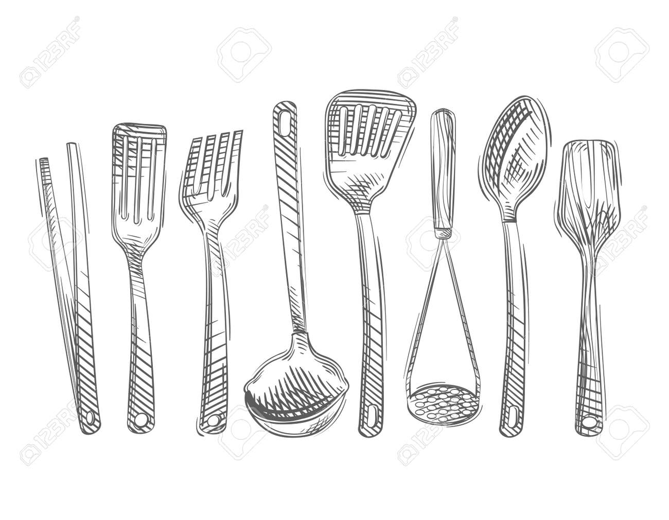 kitchen utensils vector kitchen utensils vector hand drawn of