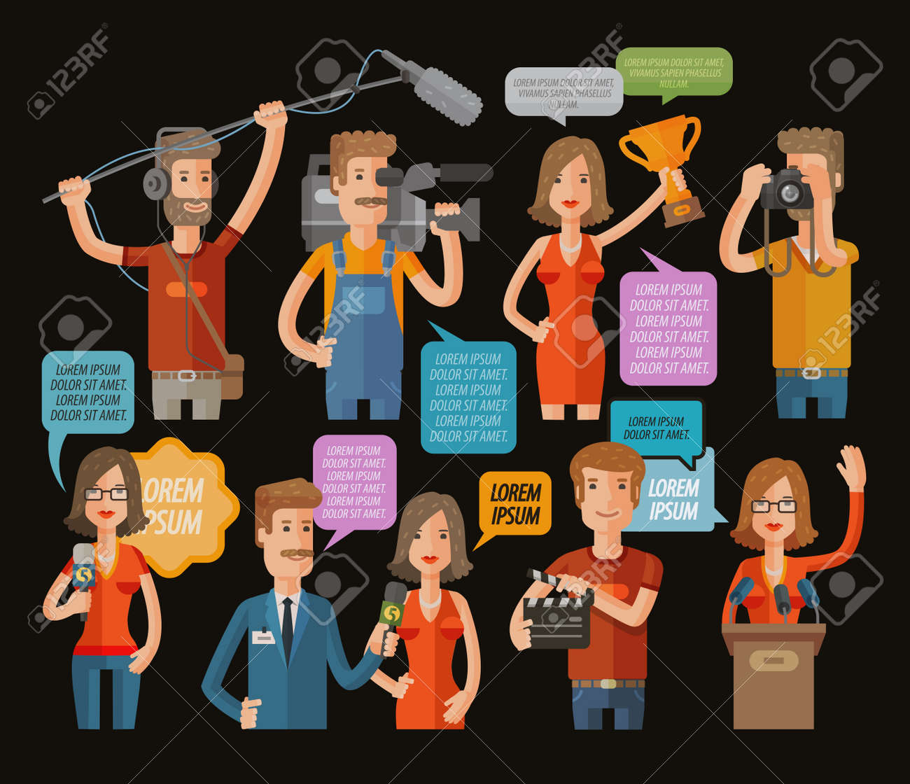 TV and journalism icon collection. vector illustration - 55349008